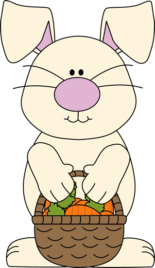 Easter Bunny with a Basket of Carrots - Easter Basket Bunny PNG