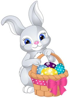 Easter Bunny with Egg Basket PNG Clip Art Image - Easter Basket Bunny PNG