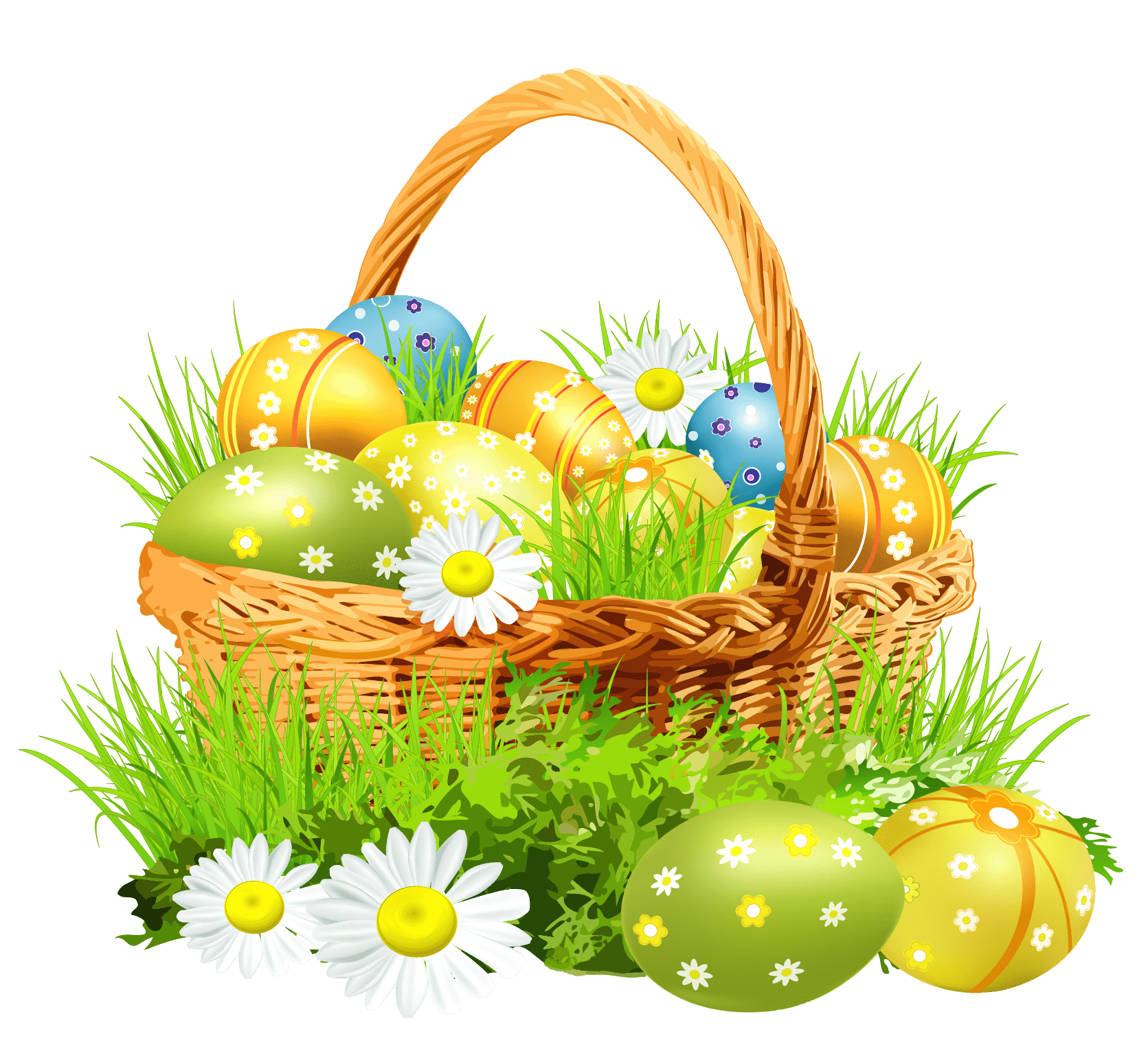 Easter Basket Flowers - Easter Bunny PNG