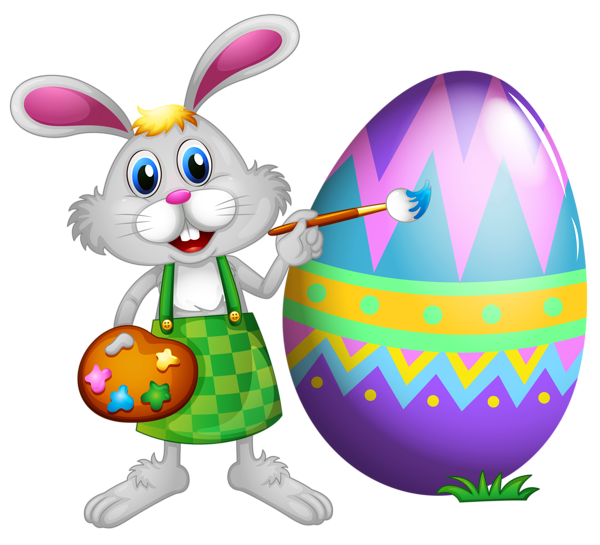 Easter Bunny and Colored Egg PNG Clipart Picture - Easter Bunny With Eggs PNG