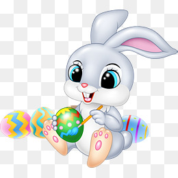 Easter Bunny, Gray Rabbit, Cartoon, Illustration PNG Image and Clipart - Easter Bunny With Eggs PNG