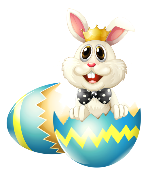Easter Bunny With Crown PNG Clipart Picture - Easter Bunny With Eggs PNG