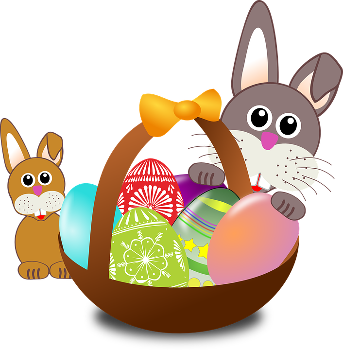 Easter, Bunnies, Eggs, Basket, Decorated, Celebration - Easter Day PNG
