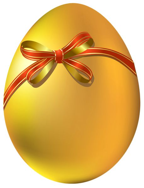 Gold Easter Egg with Red Bow PNG Clipart - Easter Eggs PNG
