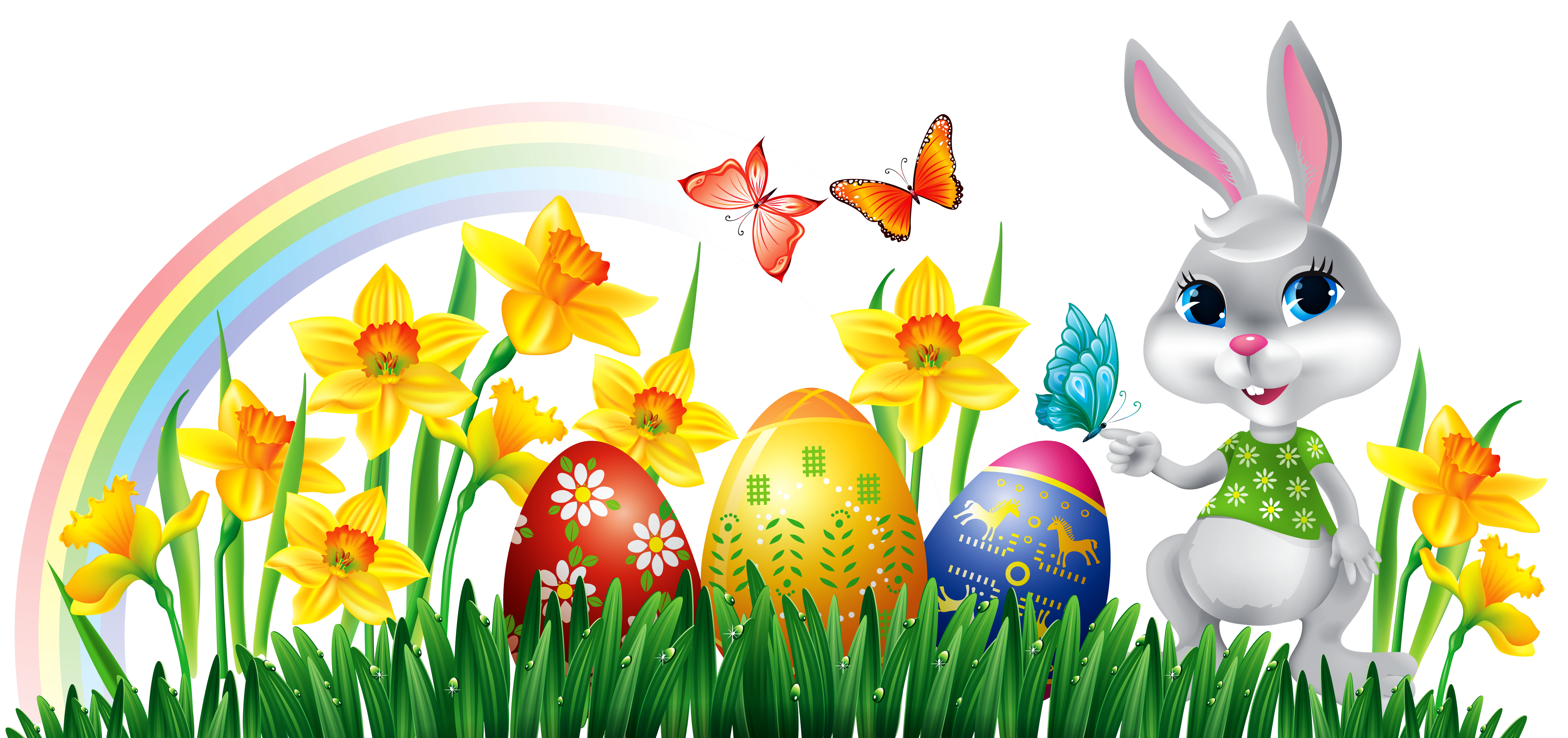Happy Easter Colorful Ggs , Bunny ,flowers, Butterflies Hd Wallpapers Free  Download - Easter HD PNG