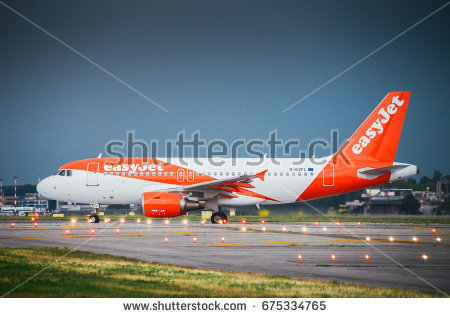 An Easyjet commercial airplane lands at Milanu0027s - Easyjet Vector PNG