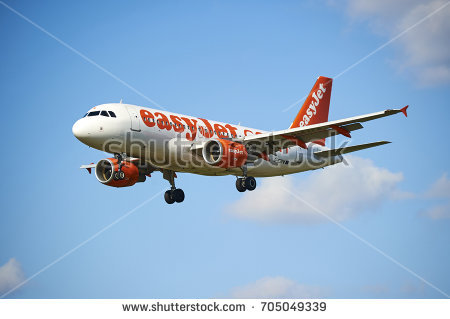 PRAGUE, CZECH REPUBLIC - April 01, 2012: EasyJet Airline Airbus A319 lands  to - Easyjet Vector PNG