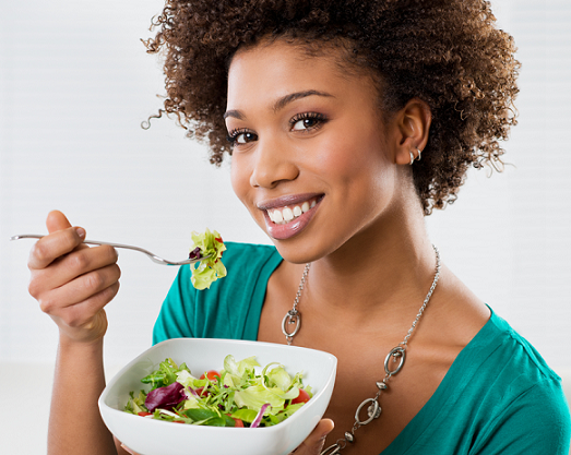 woman-eating-healthy - Eat Healthy Food PNG