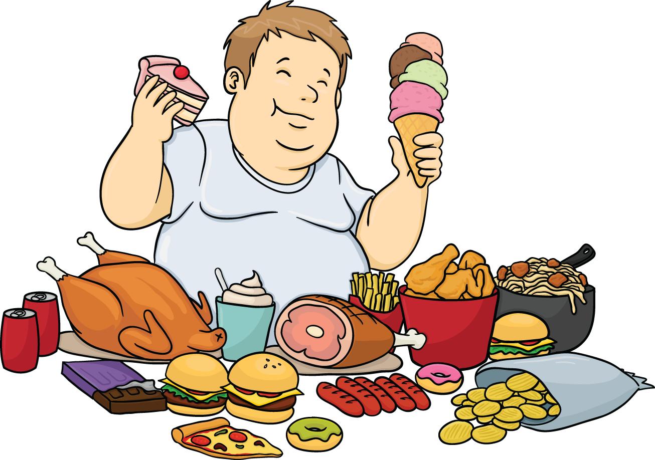 A Fat Cartoon Man Feasting On Junk Food. - Eating Food PNG