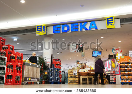 MEPPEN, GERMANY - FEBRUARY 27: Edeka supermarket in a shopping mall in  Meppen. - Edeka Vector PNG