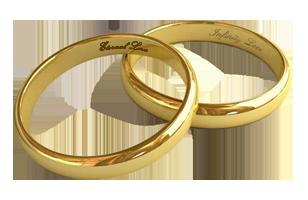 Goldene Trauungsringe Mit Initialen Eternal Love Und Infinity Love - Eheringe Symbol PNG