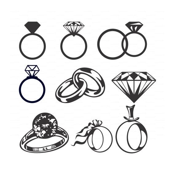 Hochzeit Diamant Ringe (Svg, Dxf, Ai, Eps, Png) Vektoren Brautdusche,  Hochzeitseinladung, Solitär, Schmuck Cameo-Silhouette-EasyCutPrintPD - Eheringe Symbol PNG