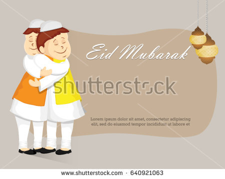Eid Mubarak Vector Background with Happy Muslim Kids Hugging and Wishing  for Islamic festival for banner - Eid Celebration For Kids PNG