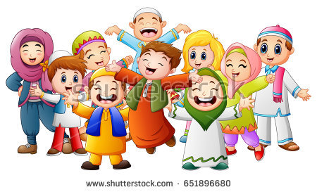 Illustration of happy islamic