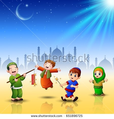 Vector illustration of Happy kids celebrate for eid mubarak with mosque  background - Eid Celebration For Kids PNG