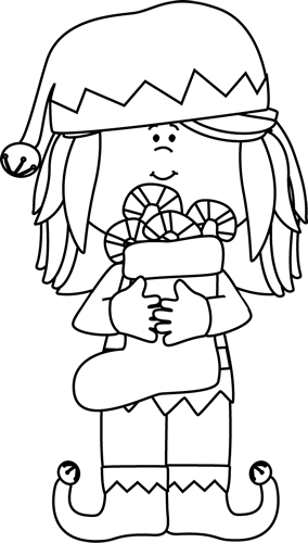 Black and White Black and White Girl Christmas Elf - Elf PNG Black And White