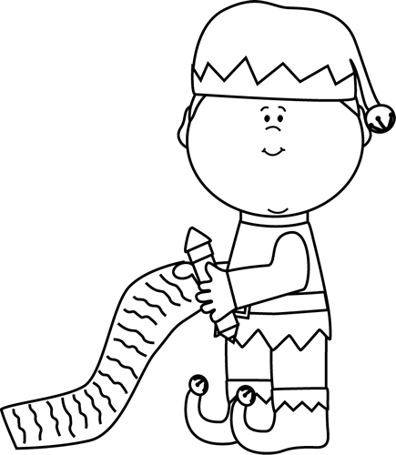 Black and White Elf with Christmas List Clip Art - Black and White - Elf PNG Black And White