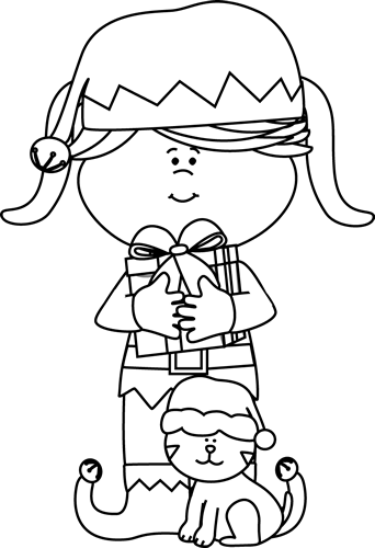 Black and White Girl Elf with Cat - Elf PNG Black And White