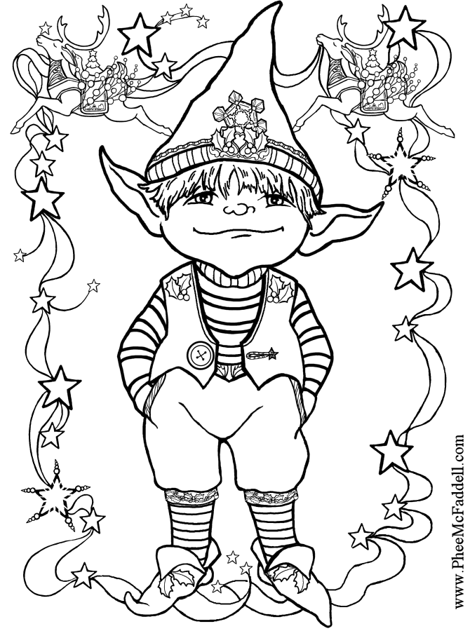 Little Elf 1 Black and White coloring and craft pages. www.pheemcfaddell pluspng.com - Elf PNG Black And White