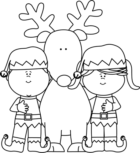 Reindeer Clipart Black And White Reindeer Head Santa Hat Black White - Elf PNG Black And White