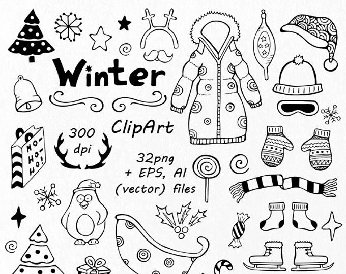 BIG SET Of Doodle Summer Cliparts Hand Drawn Vacation Clipart Digital Clip Art