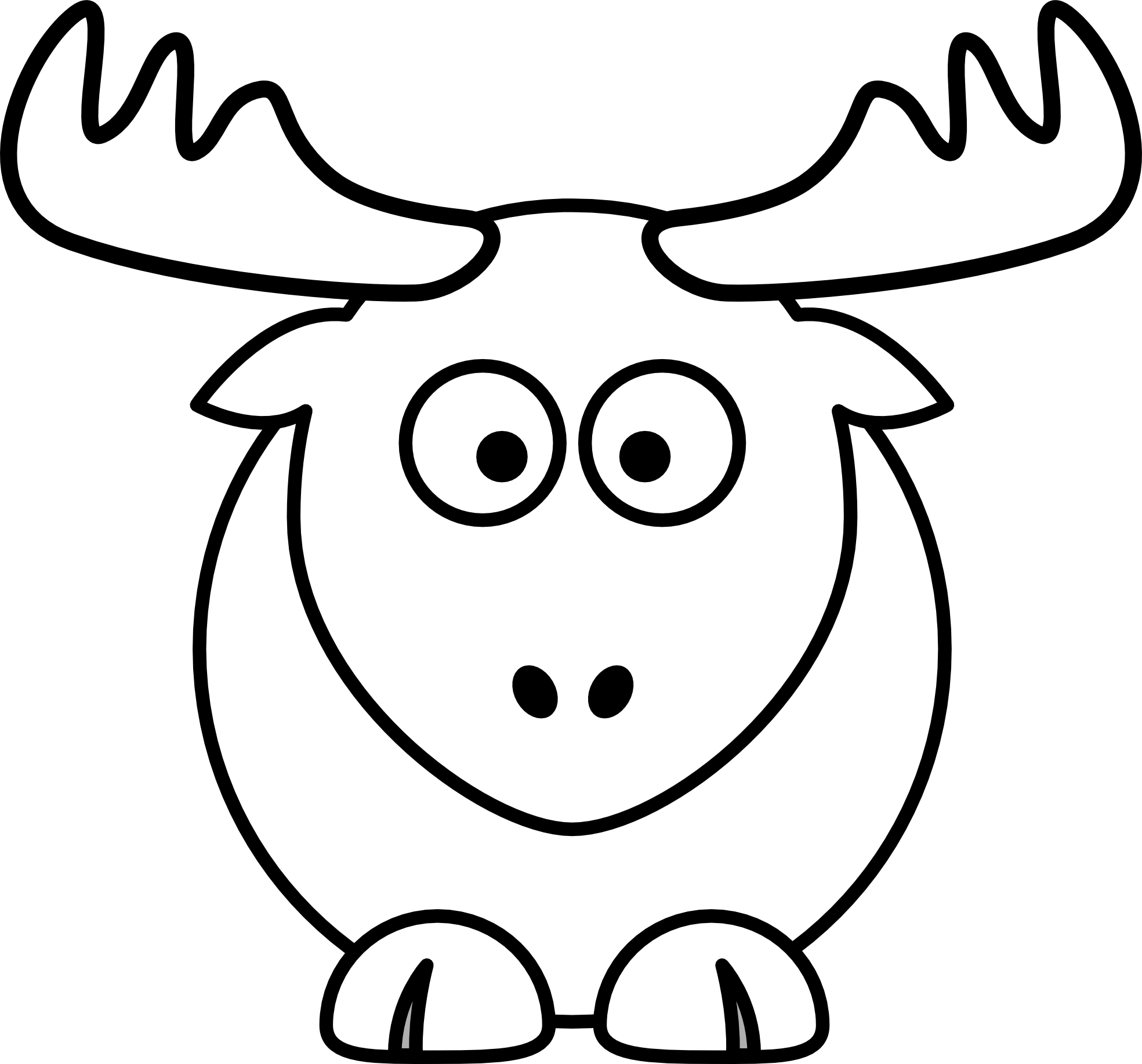 . PlusPng.com Reindeer Raindeer Elk Black White Line Animal 1969px.png 193(K) - Elk PNG Black And White