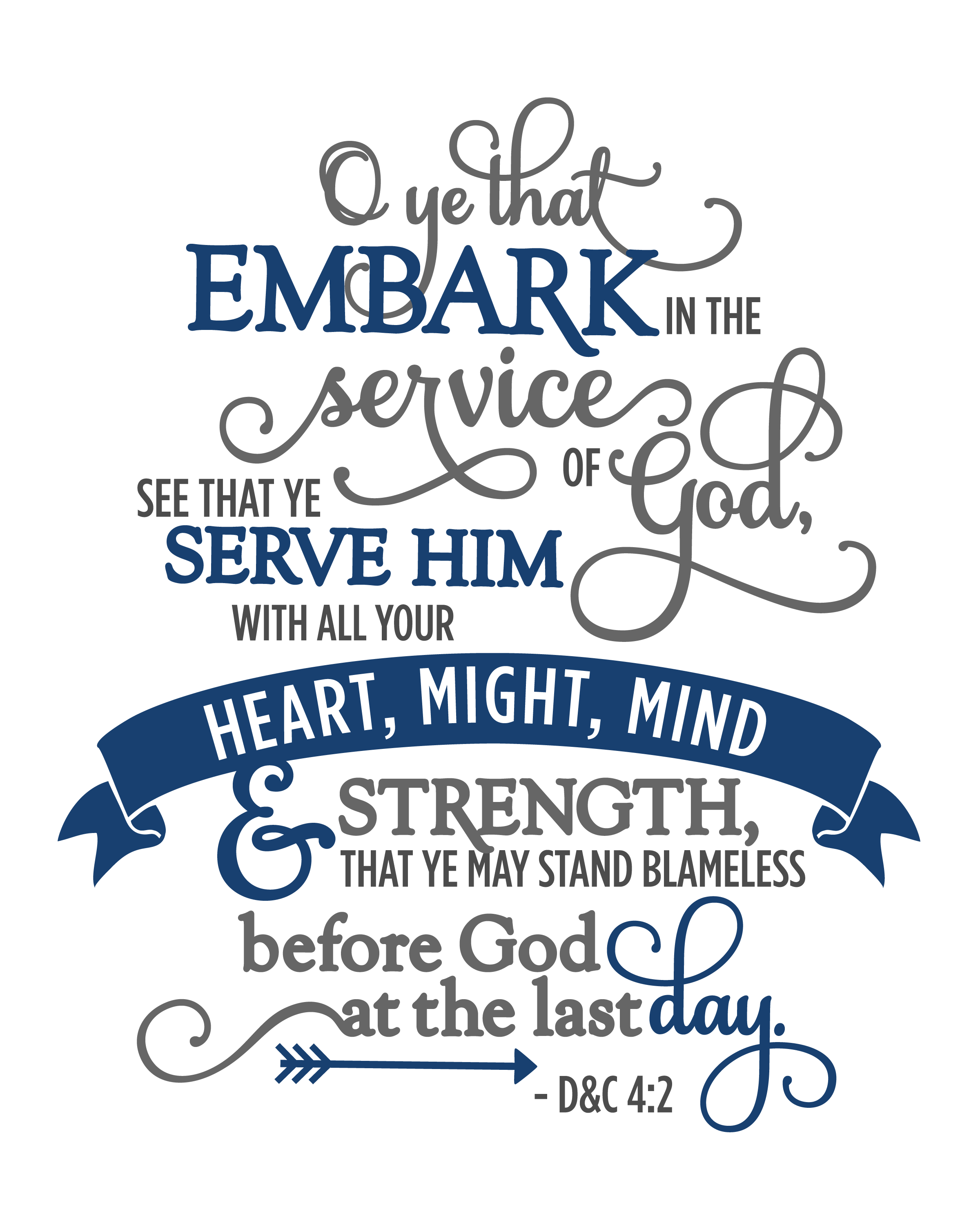 . PlusPng.com 2015 YW Theme Full - 8x10 - Navy - Embark In The Service Of God PNG