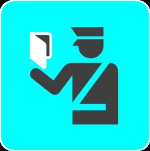 Immigration Police In Bright Blue Clip Art - Emigration PNG