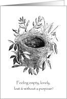 Empty Nest Syndrome Black White Humor card - Empty Nest Syndrome PNG