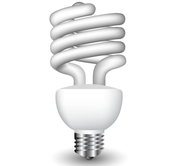 Energy Saving Fluorescent Light Bulb Vector Free - Energy Efficient Light Bulbs PNG