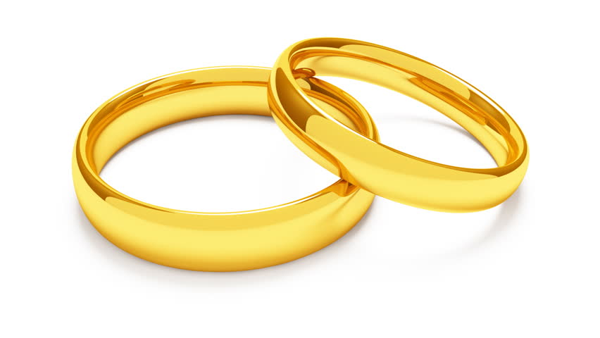 Two golden rings revolving on white background (1080p) - HD stock video clip - Engagement Ring PNG HD Free
