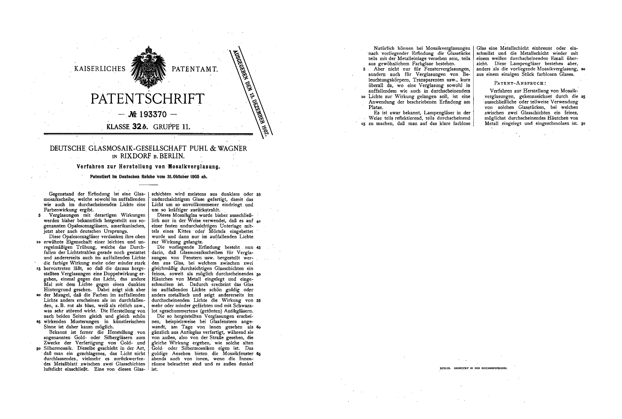 File:Patentschrift Mosaikverglasung Puhl Wagner.png - Erfindung PNG