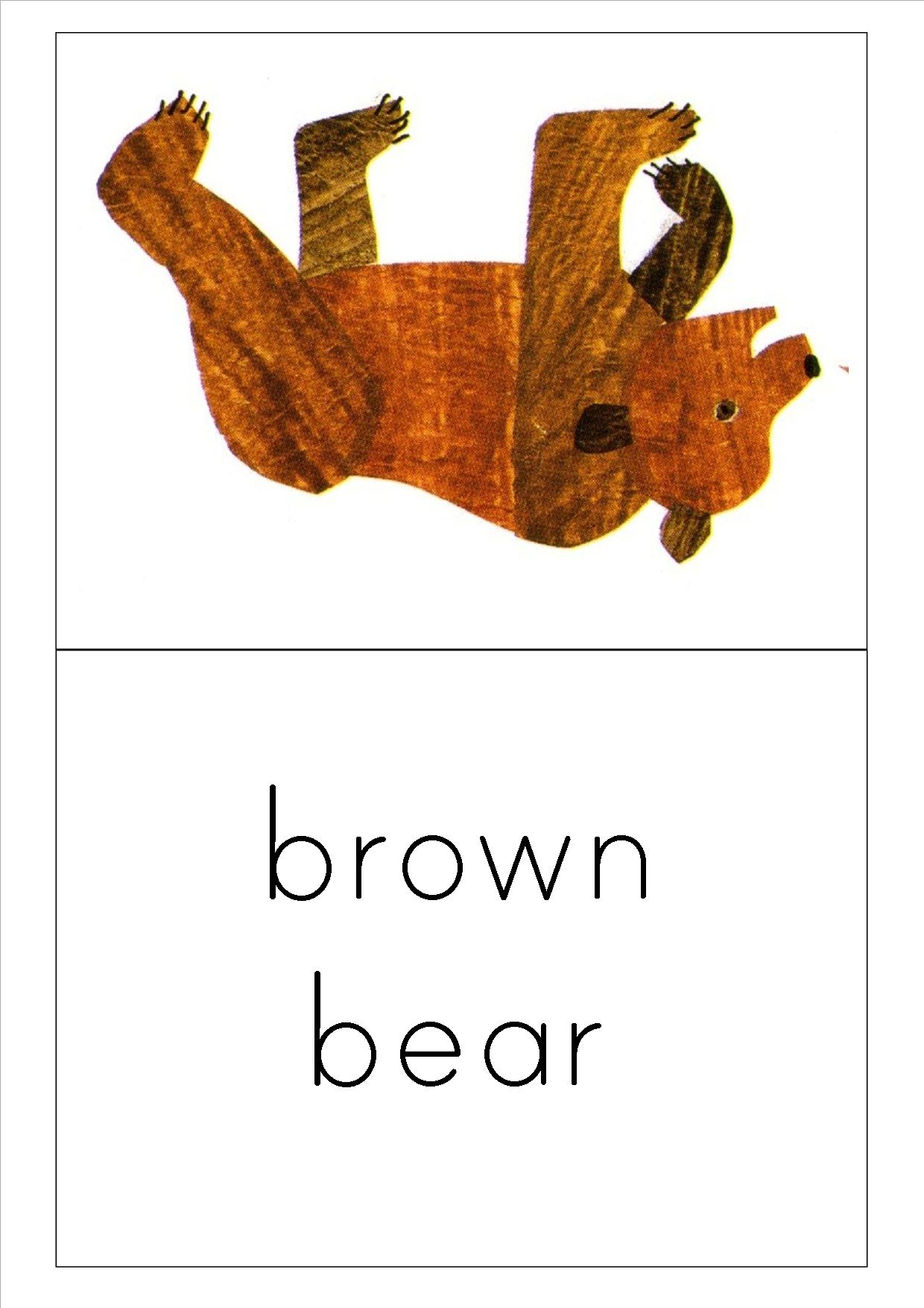 A5 flashcard for brown bear - Eric Carle Brown Bear PNG