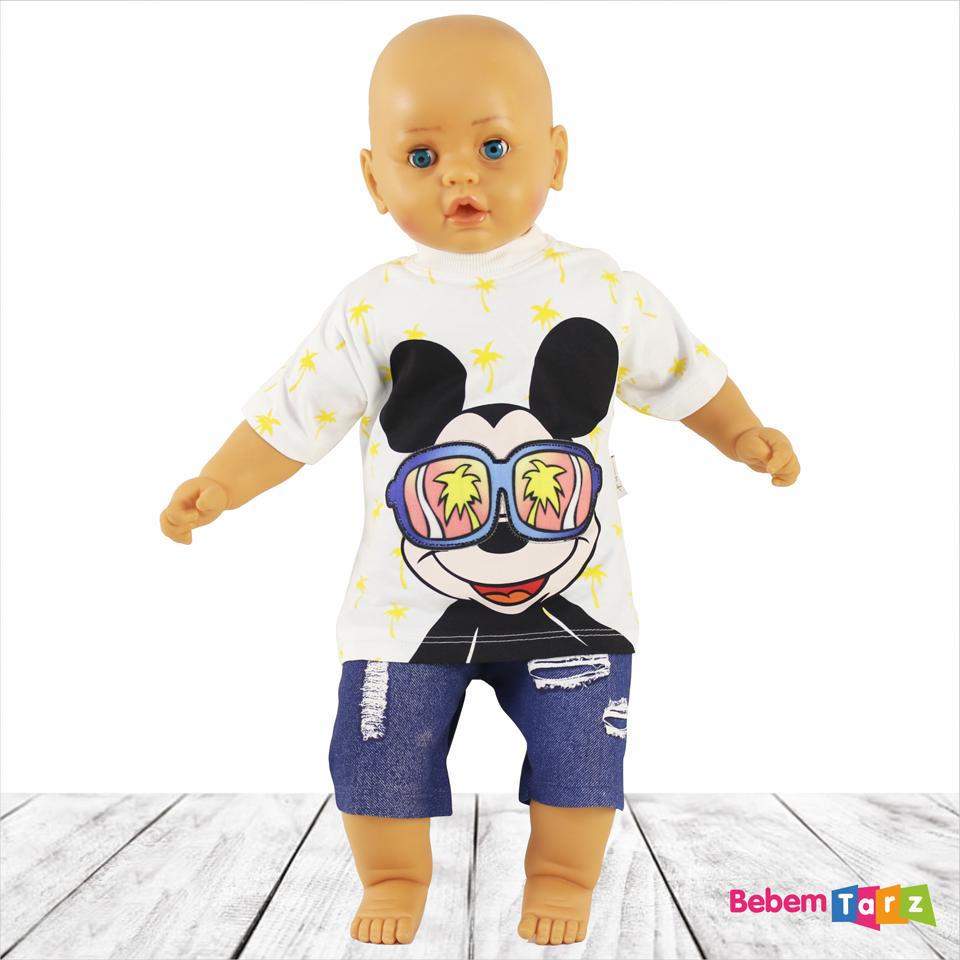 Gözlüklü Mickey 2u0027li Erkek Bebek Takımı - Erkek Bebek PNG