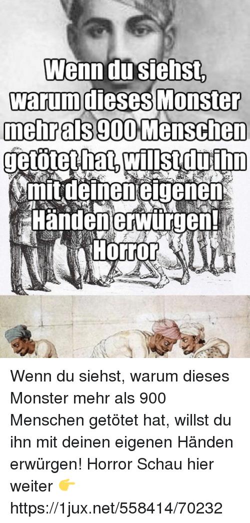 Monster, German (Language), and Als: Wenn dusiehst. warumdlesesMonster  mehrals900 Menschen - Erwurgen PNG
