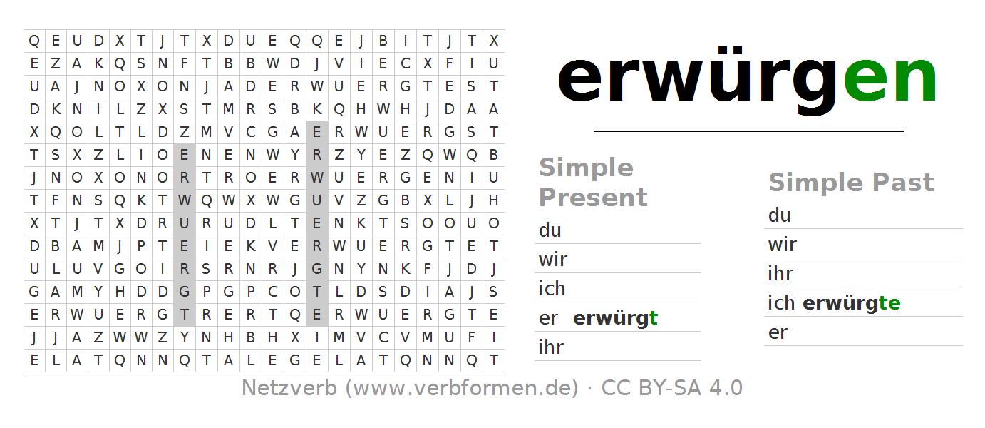 Word search puzzle for the conjugation of the verb erwürgen - Erwurgen PNG
