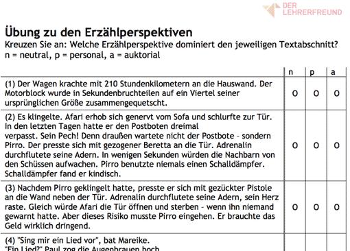 Vorschau/Ausschnitt: Arbeitsblatt u0027Übungen Erzählperspektiveu0027 - Erzahlperspektive PNG