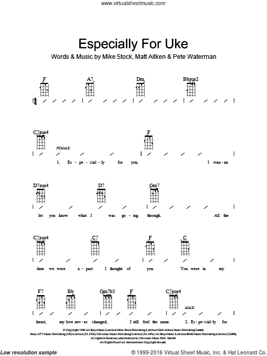 Especially For You sheet music for ukulele (chords) by Kylie Minogue. Score  Image - Especially For You PNG