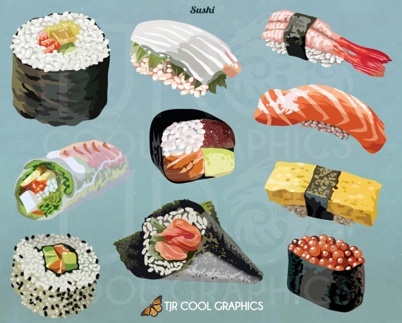 Sushi Digital, Realistic Clip Art, Commercial, PNG, Printable, Ethnic Food,  Japanese, California Roll, Spring Roll, Rice, Tofu, Shrimp from JoyCreating  on PlusPng.com  - Ethnic Food PNG