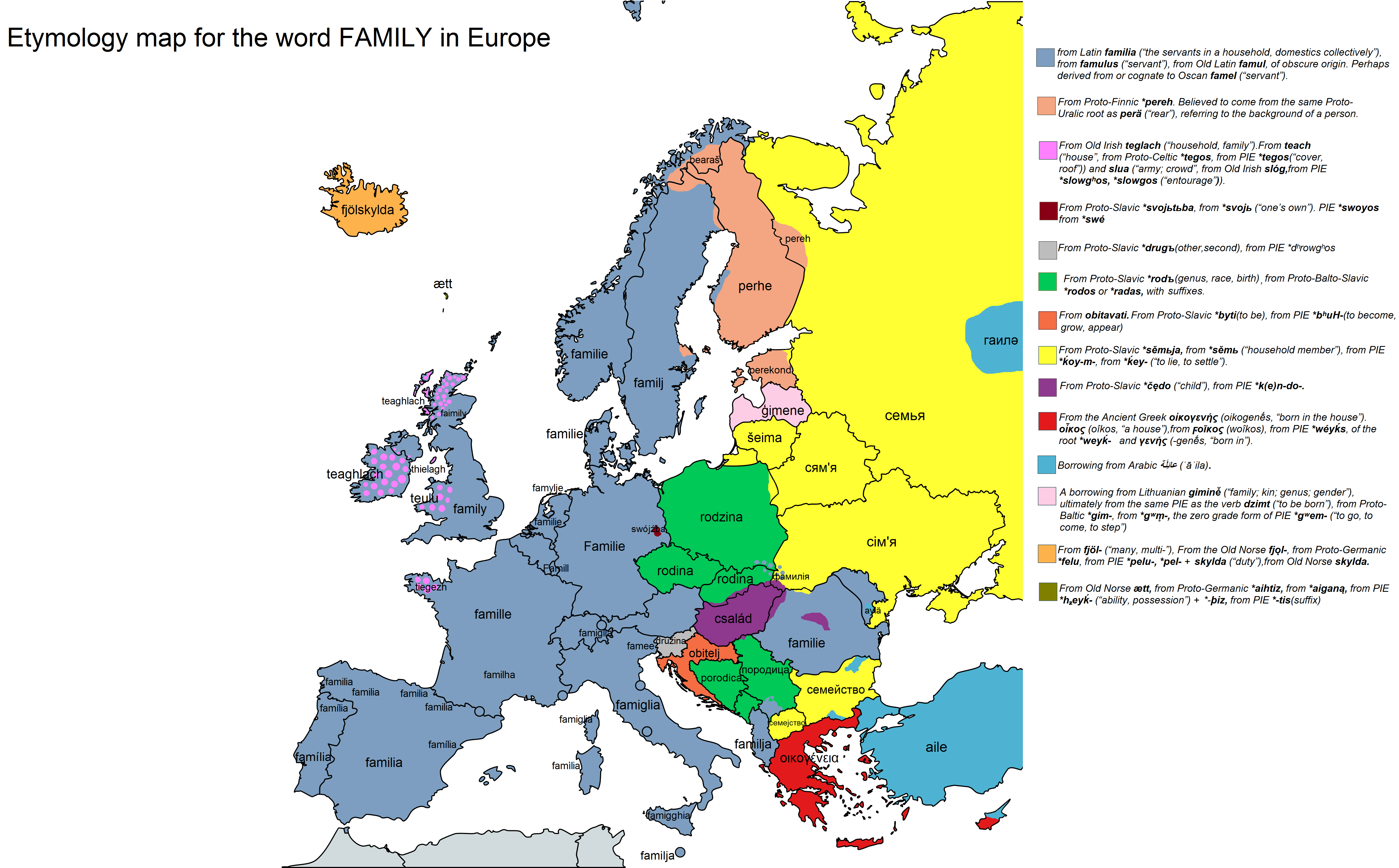 Etymology map for the word FAMILY in Europe (i.redd.it) - Etymology PNG