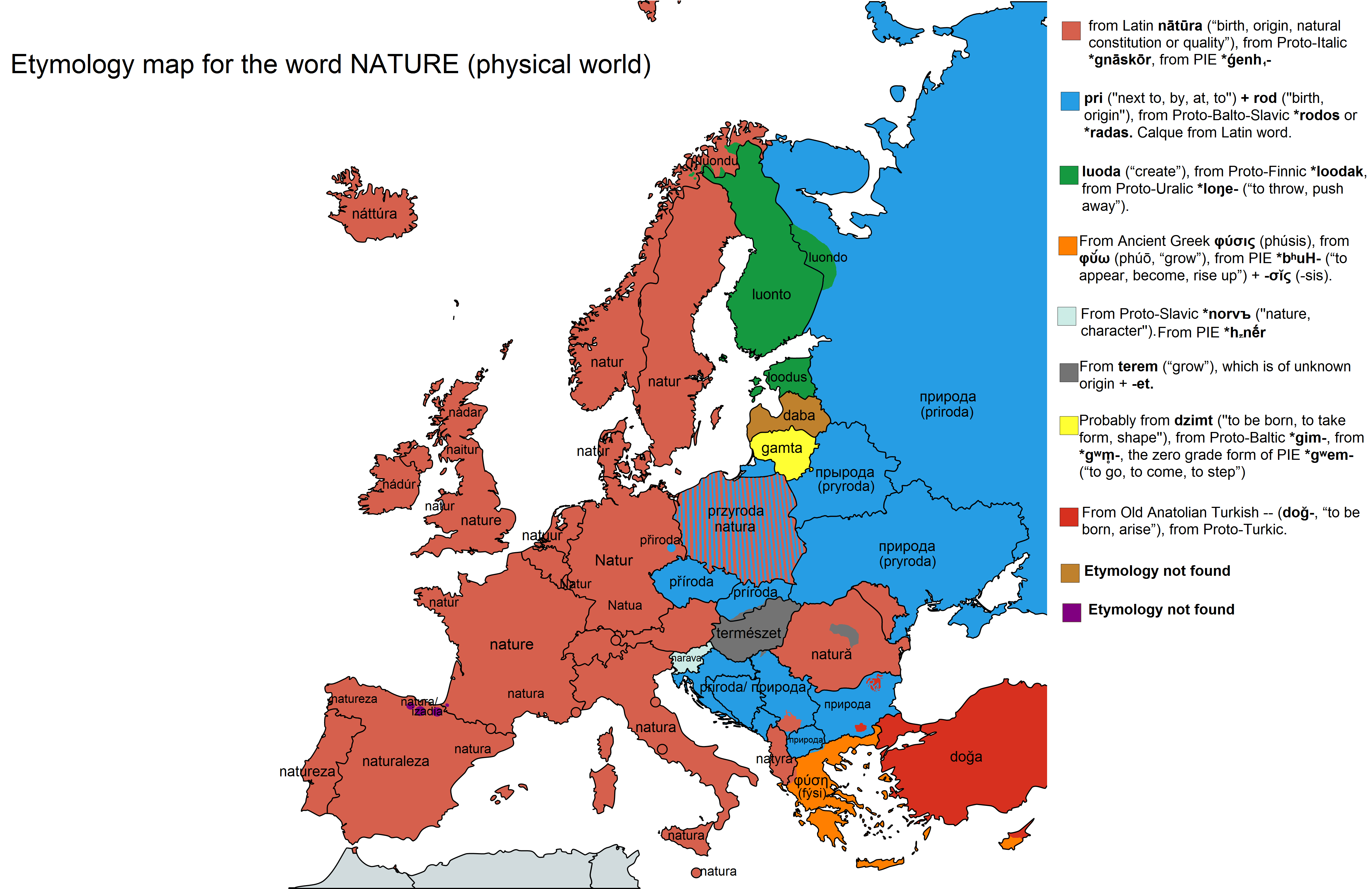 Etymology map for the word NATURE in Europe PlusPng.com  - Etymology PNG