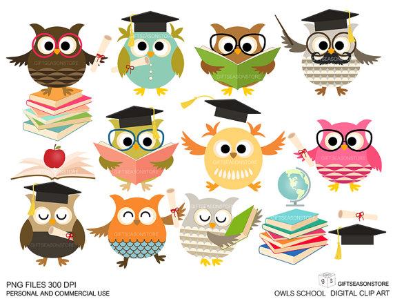 ClipArts Schule Eulen Digital für persönlichen und kommerziellen Gebrauch -  INSTANT DOWNLOAD - Eule Schule PNG