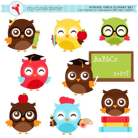 Schule Eulen Clipart Set - Clip Art Set von Eulen, Schule, Bücher, zurück  zur Schule, studieren - Eigenbedarf, kleine kommerzielle Nutzung,  sofort-download - Eule Schule PNG