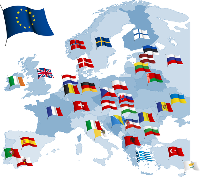Europe map with flags illustration - Europa Vector Flag PNG