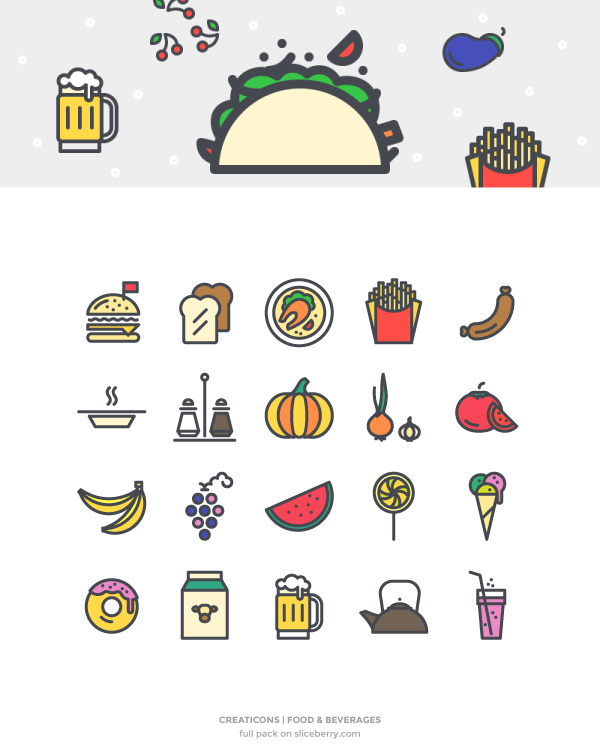 Food u0026 Beverages Vector Icons - Examples Of Go Foods PNG