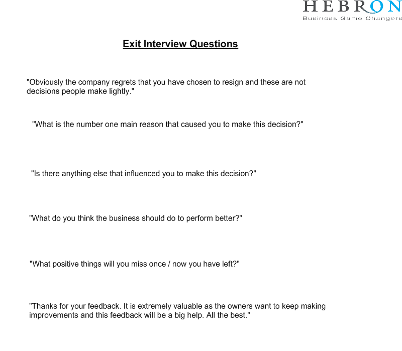 Sample Exit Interview Questions