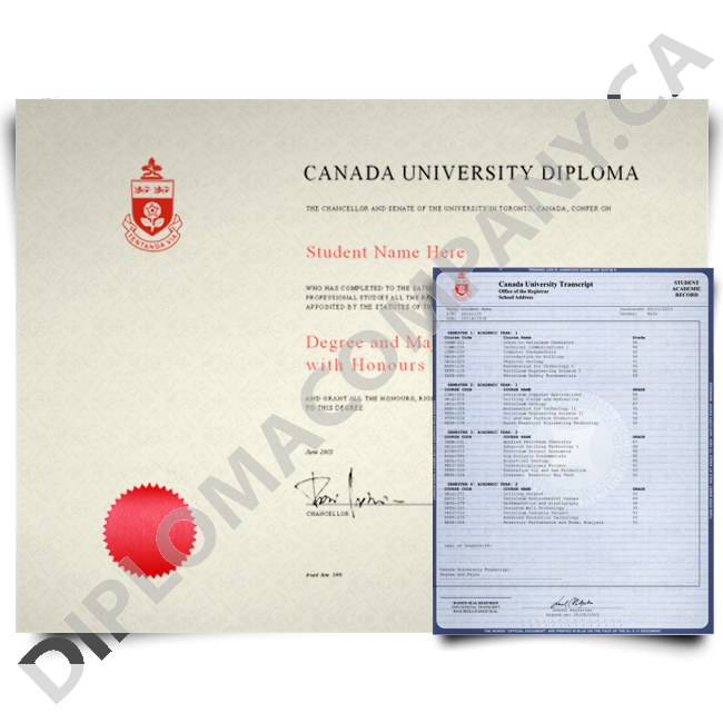 Fake Canada College Diploma and Transcripts - Fake Degree PNG