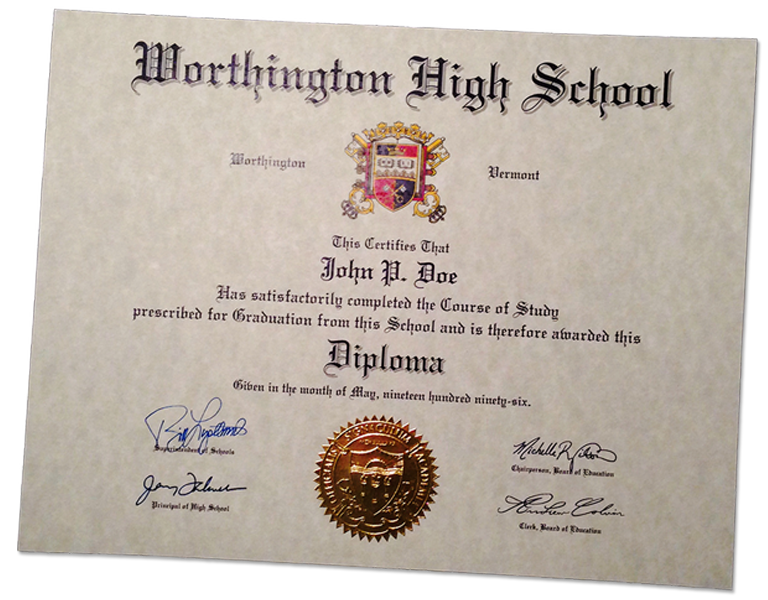 HS-D01 Fake High School Diploma Sample - Fake Degree PNG