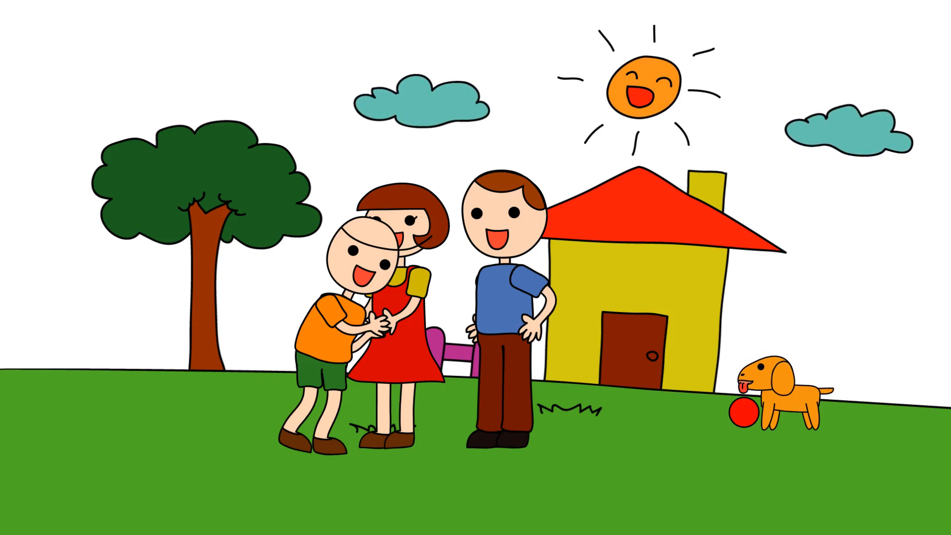 Animation cartoon of a kindergarten drawing of a child in a happy family  consists of parents mum and dad and his pet dog playing in the house with  love and PlusPng.com  - Family Love PNG HD