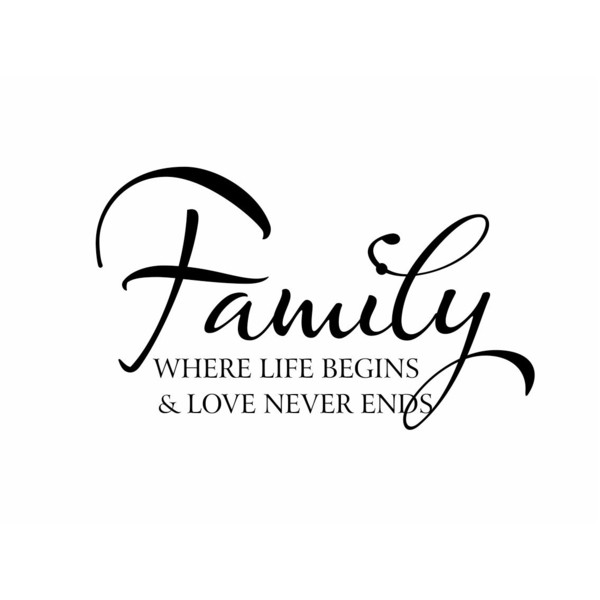 Family Vinyl Wall Decal Wall Quote Saying Where Life Begins and Love Never  Ends for Living - Family Love PNG HD